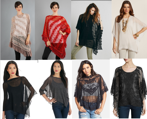 Sheer Ponchos are a great transition piece because you can layer them according to the weather.