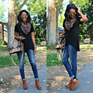 Warm Fall Transition Infinity Scarf Outfit