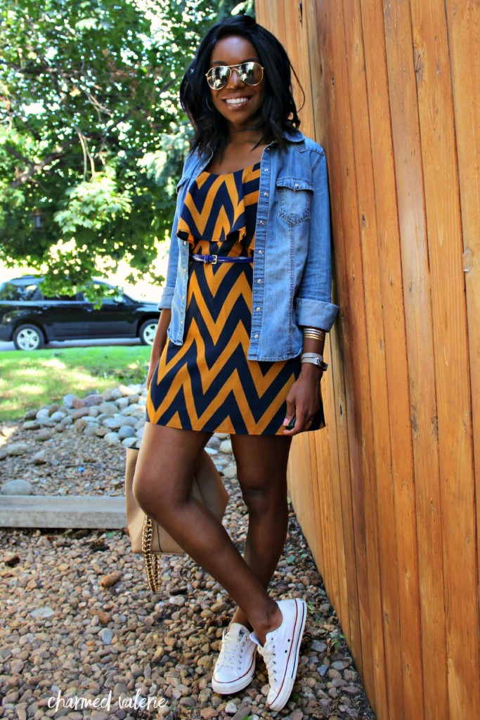 Chambray Shirt + Dress Fall Transition Outfit