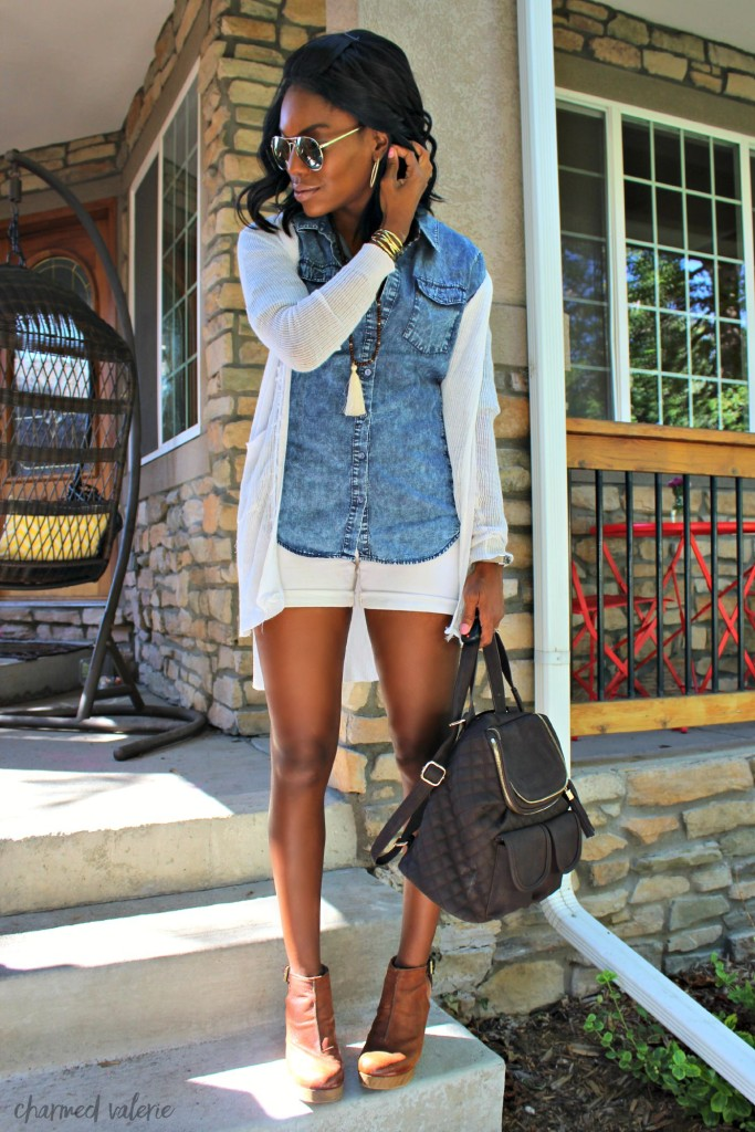 Chambray + Shorts Warm Fall Transition Outfit