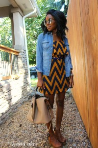 Chambray + Dress Fall Transitional Outfit