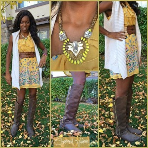 fall floral vest outfit