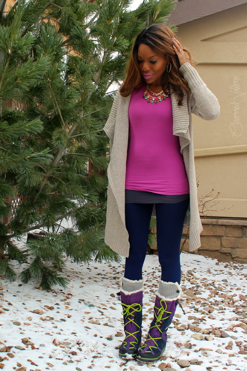 A Blardigan + Sorel Glacy Explorer Snow Boots #ootd