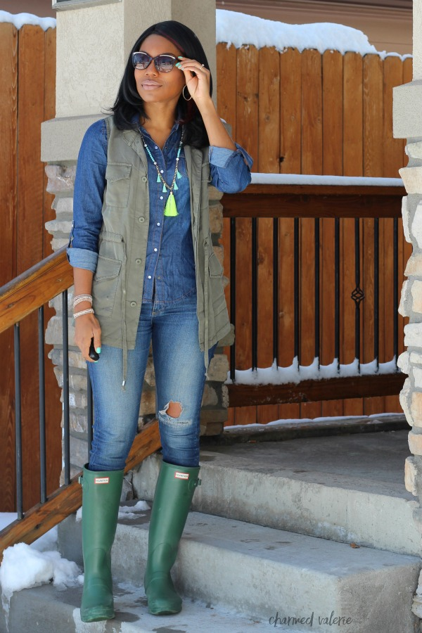 Spring Rain Boots + Utility Vest Outfit
